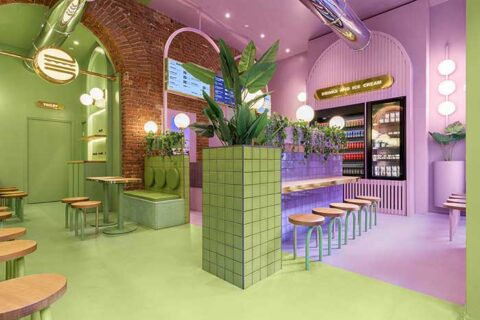 Η Masquespacio μόλις ολοκλήρωσε το πρώτο της σχέδιο εσωτερικής διακόσμησης στο Μιλάνο για την ιταλική αλυσίδα burger Bun